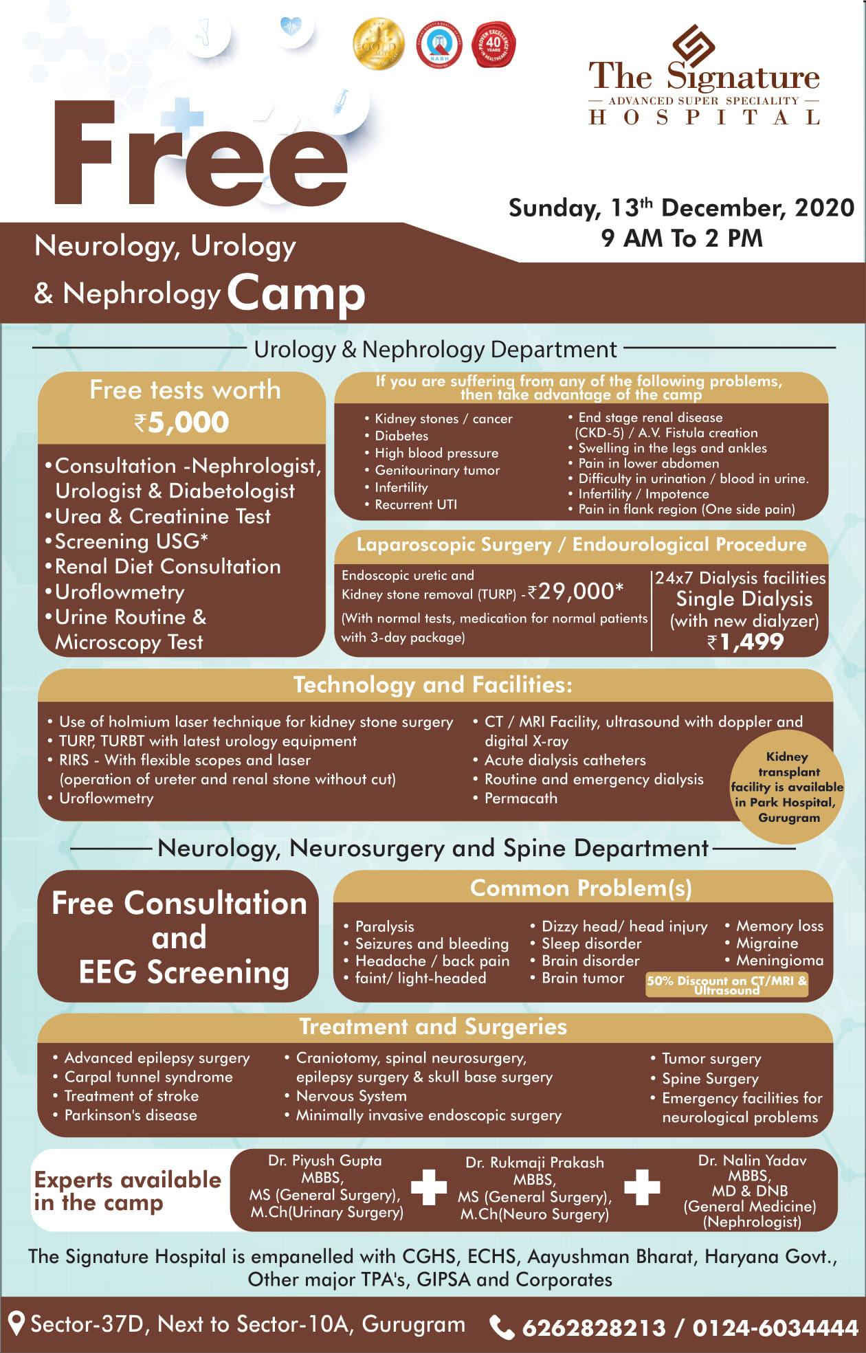 Camp for Neurology, Urology and Nephrology