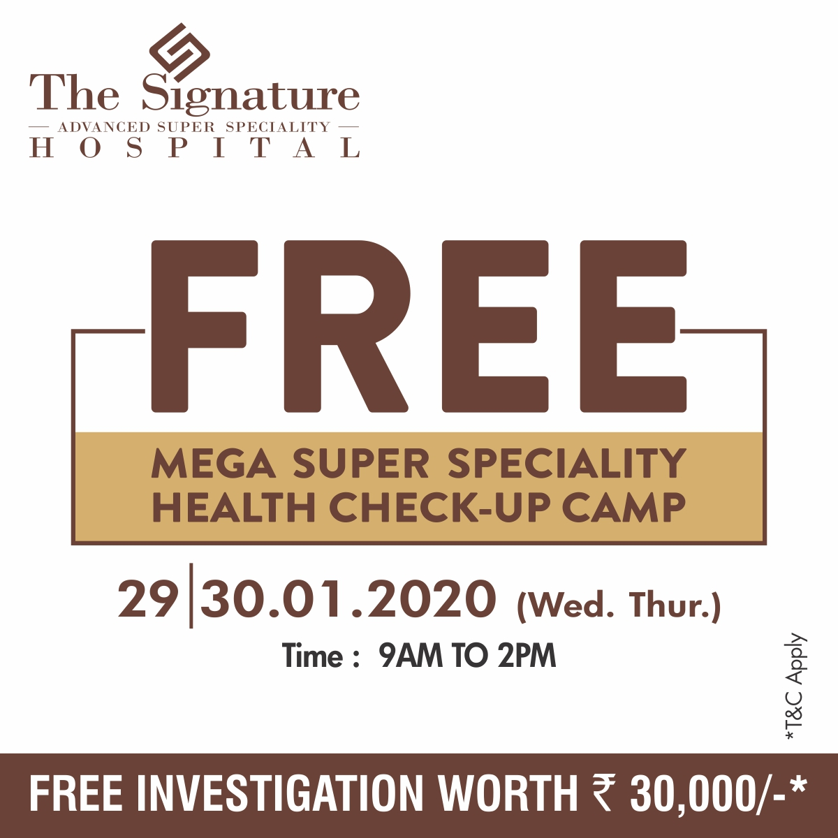 Free Mega Super Specialty Health Check Up Camp