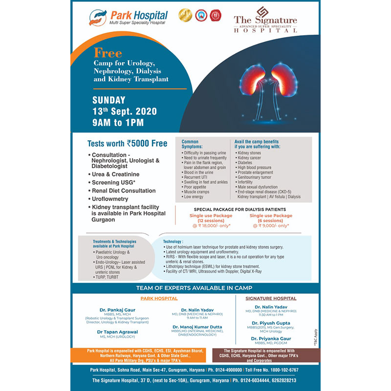 Free camp for Urology, Nephrology, Dailysis and Kidney Transplant